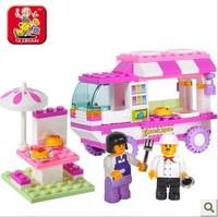 Sluban M38-B0155 102pcs 3D Construction eductional plastic Building Block Sets Fast food car children girl toys Christmas Gifts
