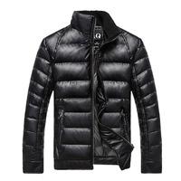 2014 winter new men fashion short down jacket slim PU leather coat warm outwear casual coat hot sale drop shipping MW9292