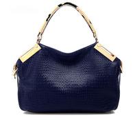 HOT Crocodile Grain High-Quality Ladies' Fashion PU Leather Leisure Obique Totes/Shoulder Bag Purse Color KhakiFree postage