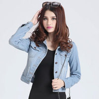 2014 NEW plus size vintage high fashion European excellent turn-down collar basic denim coat outerwear jeans jacket short