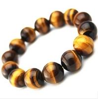 Mens Tiger Eye Bracelet Tibetan Prayer Beads Natural Yellow Tiger Eye 14mm  Healing Bracelet Free Shipping