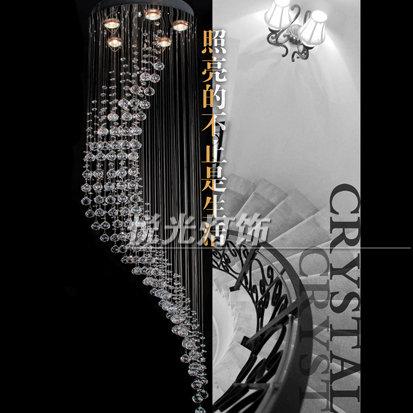 Luz breve moderna de espiral lâmpada escada lâmpada de cristal luzes da sala de estar sala de jantar pingente luz(China (Mainland))