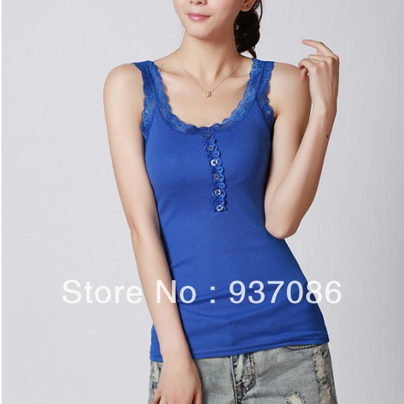 10 Colors Women Tops Fitness Sleeveless T Shirt Women Cotton Lace Vest ...