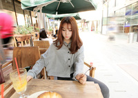 Summer 2013 women's elegant fashion all-match batwing sleeve woolen long-sleeve short design shirt grey