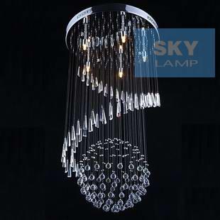 Iluminação corbelling espiral lâmpada da escada de cristal moderna luminária espiral rodada lâmpada escada bola(China (Mainland))