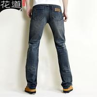 free shipping Ikebana vintage jeans male straight slim summer retro finishing denim trousers