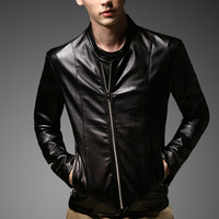 FREE SHIPPING Men's leather clothing leather jacket male PU clothes motorcycle slim male patchwork
