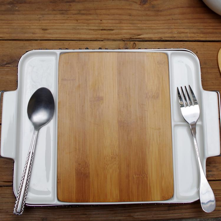 Pinho fashion western dish ceramic cutlery tray stainless steel bracket royal tableware bamboo pallet dish(China (Mainland))