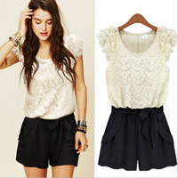 2013 Fashion Women Summer Spring Brand Chiffon Lace Jumpsuit Shorts Women Office Pants Playsuit With Belt White Pink S M L XL