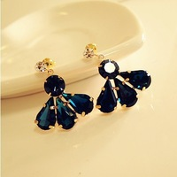 Min. order is $15 (mix order) Fashion 18K Gold Plated Deep Blue Acrylic Cute Water-Drop Shape Stud Earrings