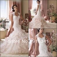 Romantic New Design Mermaid Cap Sleeves Lace Bodice Ruffles Organza 2014 Formal Wedding Dresses