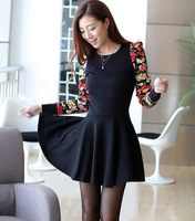 Free Shipping Winter Fall New 2014 Women Fashion Floral Long Sleeve Slim Ball Gown Pleated Vintage Dress Stylish Black S M L