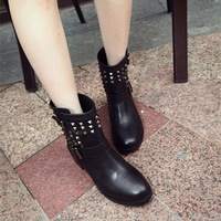 Boots for Woman 2013 Winter New Fashion Rivet PU Leather Vintage Women's Flat Shoes Motorcycle Female Boot Free Shipping