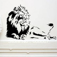 Free Shipping New Animal Wall stickers Home decor SIze:560mm*850mm PVC Vinyl paster Removable Art Mural Lions S-66