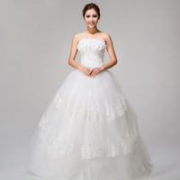 Special offer Princess sweetheart floor-length satin flowers Wedding Dresses #H13725