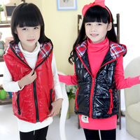 FREE SHIPPING 2013 autumn and winter shiny boys clothing girls clothing child vest cotton vest wt-1406