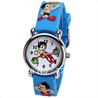 Free Shipping Wholesale Children Cartoon Watches Cute Astro Boy Pattern Rubber Band Round Dial Mini Shape Watch for Children