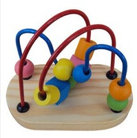free shipping Mini rail maze small around beads fancy toy pearl educational wooden toy for baby
