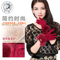 Female autumn and winter lace thermal thickening rabbit fur gloves