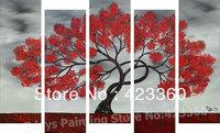 Original Modern palette knife Heavy Texture Impasto Hand oil painting,huge 60''x36'', black white red tree art