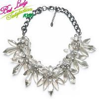 2013 luxury brand items transparent crystal flower drop necklace women  clain necklaces 9180