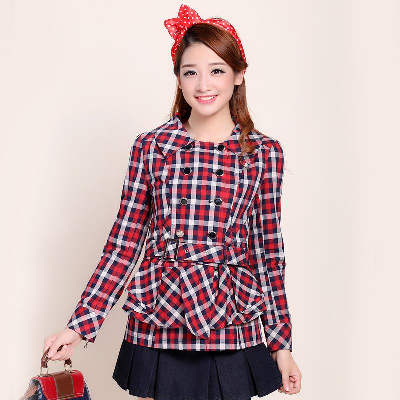 2013 autumn women's formal casual gentlewomen slim waist plaid trench outerwear e13108(China (Mainland))