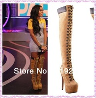New Arrival Lace Up Fashion Motorcycle Boots Over Knee Platform Boots Women Winter Large Size