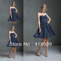 2014 new arrival gray color sweetheart chiffon bridesmaid dresses brides maid dresses BN050