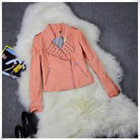 Lixin women's as fashion punk rivets soft PU leather jacket outerwear female