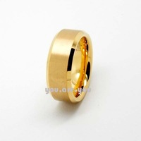 NEW Mens Brushed Center 18K Gold Plated Tungsten Carbide Wedding Band Promise Ring