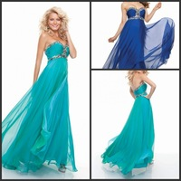 2014 New Style Fashion Sweetheart Sleeveless Pleat Beaded A-line Teal Prom Dresses