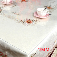 F&C free shipping to USA 2.00mm 140cm*10cm Soft glass cloth transparent crystal PVC Tablecloth waterproof disposable