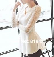 New Women's Lace Long sleeve Chiffon Peplum Blouse Shirt Tops Beautiful Lady Black White Plus size