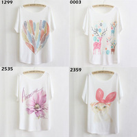 New Arrival fashion 2014 women's batwing short sleeve printing owl tees T-shirt Tops women Loose fit Plus size Tshirt PSBZ3