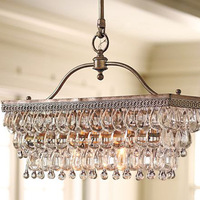 55cm x 25cm Antique Rectangular crystal K9 chandelier , crystal american style modern brief of luxury  pendant chandelier light