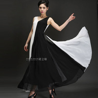 Skirt 2014 one-piece dress elegant chiffon one-piece dress patchwork expansion bottom sleeveless ultra long skirt female