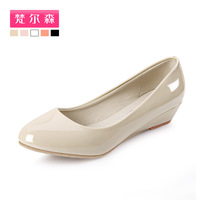 2013 autumn single shoes female wedges with the leather female shoes work shoes