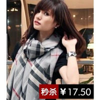 2013 autumn and winter large burb rry women's large plaid cashmere scarf