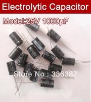 Free shipping 100pcs 1000UF 25V electrolytic capacitor,25V 1000 microfarad capacitors