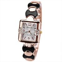 2013 New Popular Rhinestone Bracelet Watch Fashion Square Shaped Quartz Analog Watch Golden Steel Band Women Watch Free Shipping