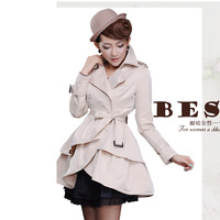 Autumn lacing slim outerwear sweet princess thin long-sleeve turn-down collar trench women's 002