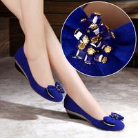 2013 Autumn Wedges Nubuck Leather Mid Heel Lady Shoes Sheepskin Genuine Leather Shallow Mouth Round Toe Shoes