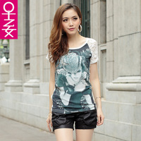 2013 women's lace sleeve print o-neck t-shirt all-match rhinestones basic short-sleeve shirt