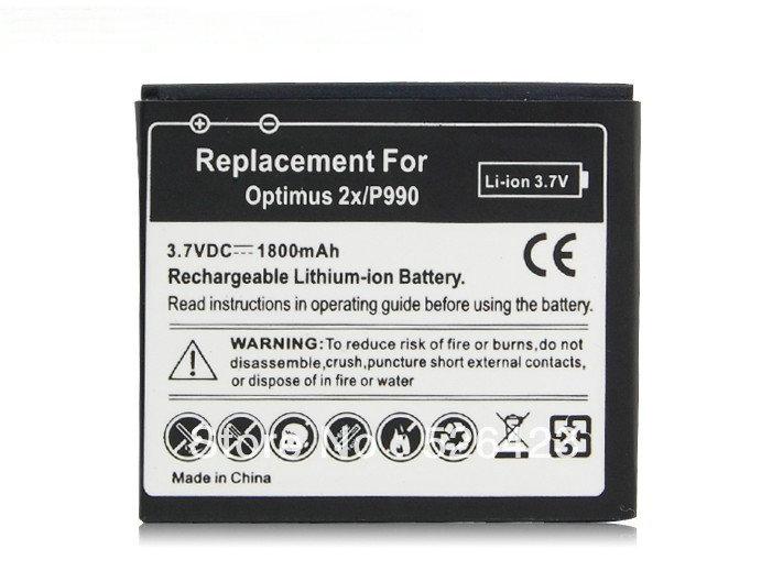 1800mAh Lithium-ion Battery For LG Optimus 2x P990 P920 / Optimus 3D FL-53HN Battery 50 pcs / lot(China (Mainland))