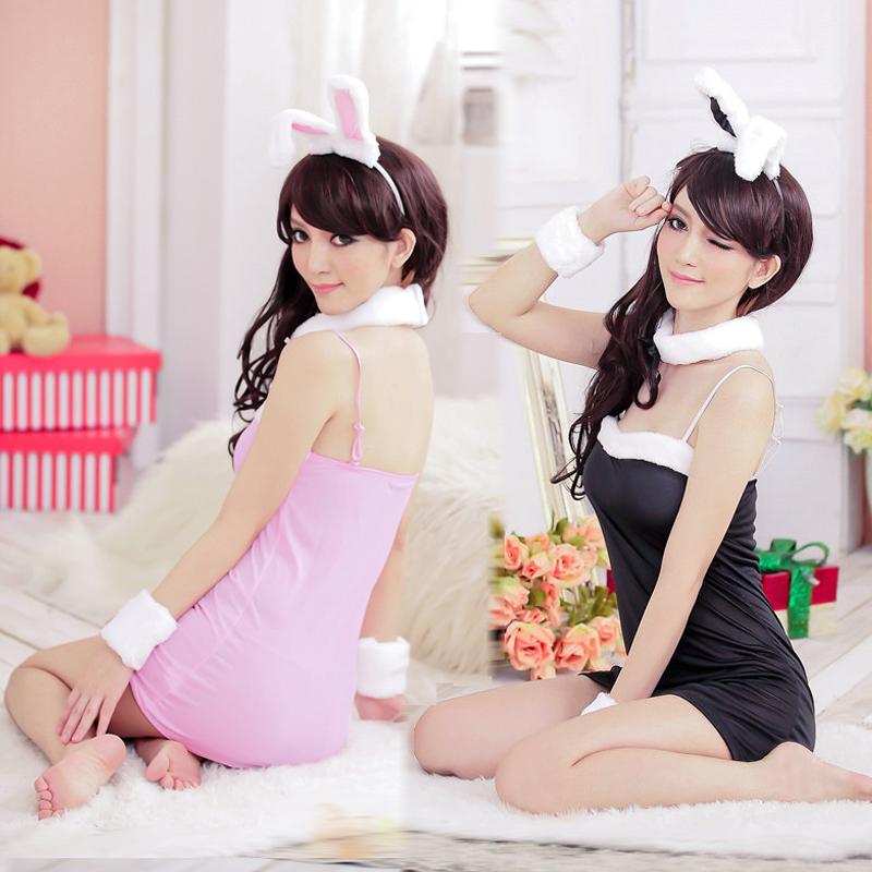 Pink short skirt rabbits loaded sexy low-cut lady rabbit(China (Mainland))