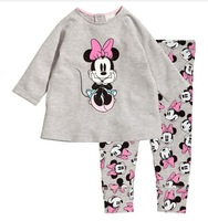 free shipping brand CALUBY, Girls Sleepwear Children Pajamas long Sleeve Pyjamas, Pink sit minnie