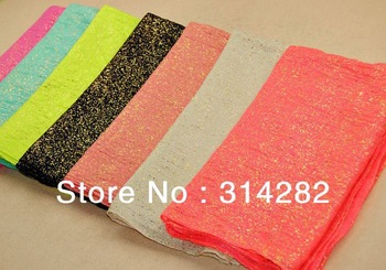 2013 new plain women printe glitter scarf/shawls cotton voile viscose pure color long MUSLIM scarves 10pcs/lot 7color