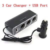 3 Ways Car Cigarette Lighter + USB Port Socket Splitter Charger Free Shipping