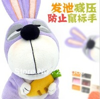 MR.LOBO Pressure Sensitive Vent Toys For Home&Office/ Rabbit +Radish White Collar Decompression Plush Doll Gift
