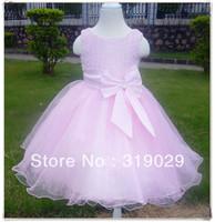 2013 Summer dress Girl flower clothing One-piece dresses Silk Princess dress Wedding dress High quality Drop shipping MOQ 1PC